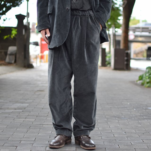 CASEY CASEY(ケーシーケーシー)/ VELVET PANTALON JOG BASICS LONG PANT -DARK GREY-