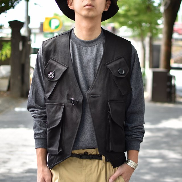 MONITALY(モニタリー)/ MILITARY VEST TYPE-C -VANCLOTH SATEEN BLACK-