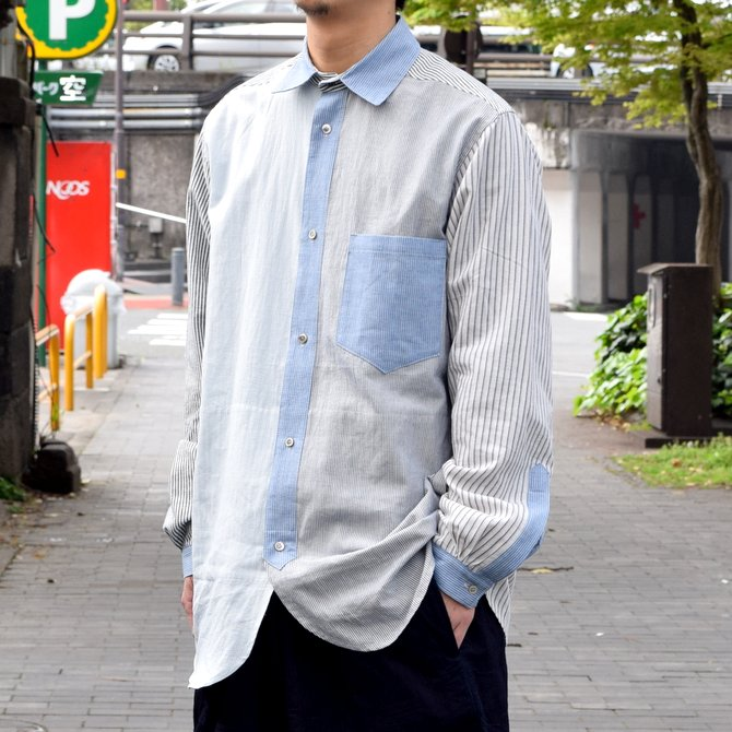 FRANK LEDER(フランク リーダー) / STRIPES POCKET MIXED OLDSTYE SHIRT