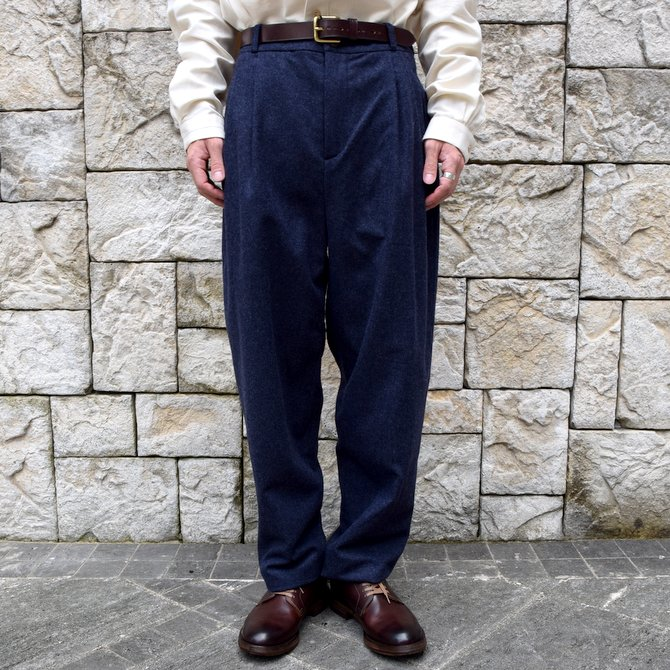 【WINTER SALE】FRANK LEDER(フランク リーダー) /LODEN WOOL 2 TUCK TROUSERS -NAVY-