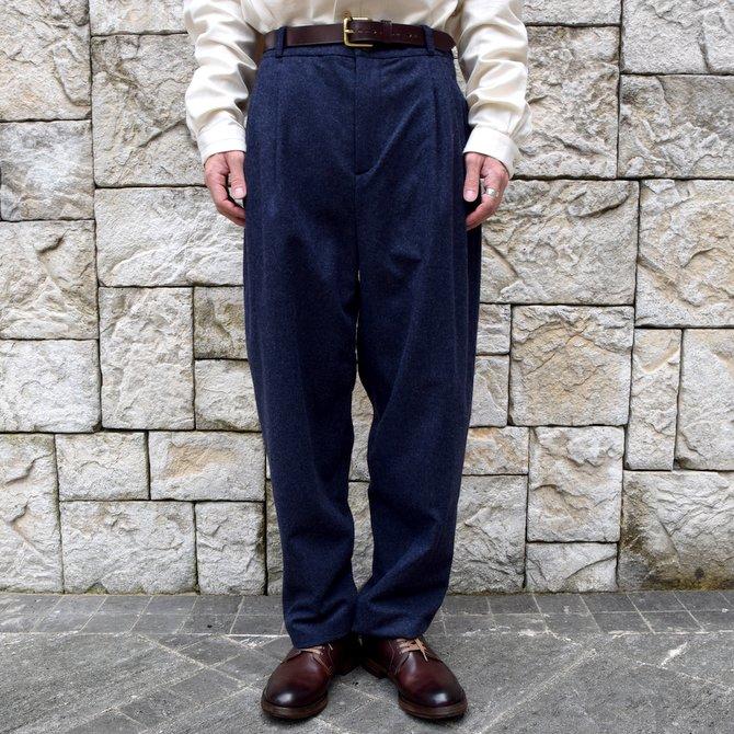 【WINTER SALE】FRANK LEDER(フランク リーダー) /LODEN WOOL 2 TUCK TROUSERS -NAVY-