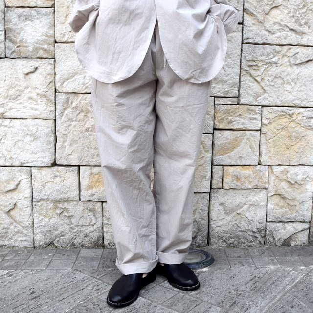 【20 SS】FRANK LEDER(フランク リーダー) /TRIPLE WASHED THIN COTTON DRAWSTRING TROUSERS -GREY-