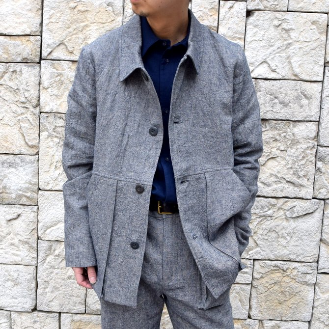 【20 SS】FRANK LEDER(フランクリーダー)/BLUE LINEN WORK JACKET-BLUE-