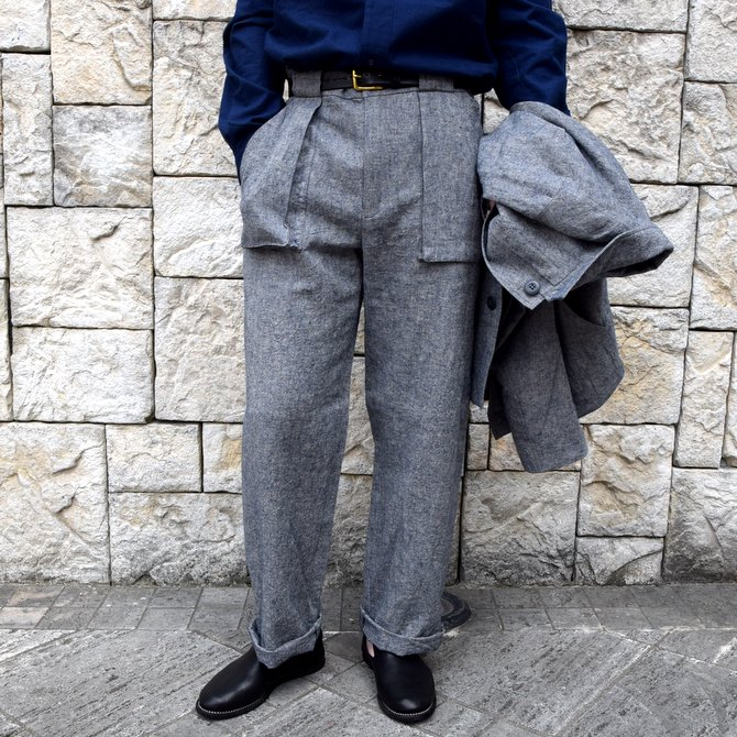【20 SS】FRANK LEDER(フランク リーダー) /BLUE LINEN TROUSERS WITH GUSSET POCKET -BLUE-