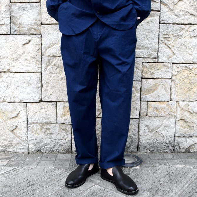 【20 SS】FRANK LEDER(フランク リーダー) /BALTIC BLUE DYED VINTAGE BEDSHEET 2TUCK TROUSERS -BLUE-