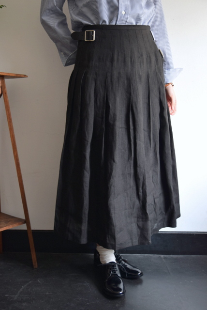 O'NEIL OF DUBLIN(オニール オブ ダブリン)/リネンプリーツラップ巻きスカート(3色展開)