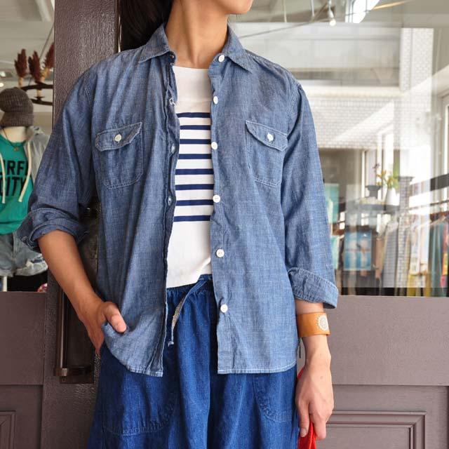 miusa(ミウサ) / シャンブレ―スラブコットン七分袖シャツ