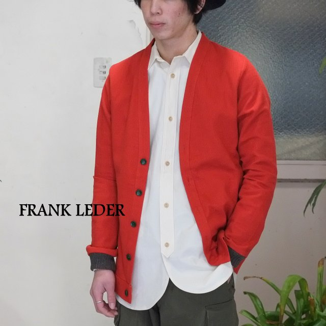 FRANK LEDER(フランクリーダー)/ PIPED STRUCTURED COTTON/LINEN Cardigan -(75) RED -【HS】