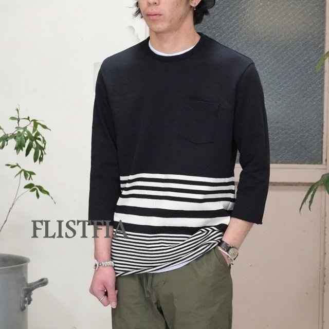 FLISTFIA(フリストフィア)/3/4 Sleeve Border T-Shirts -BLACK x Off White -