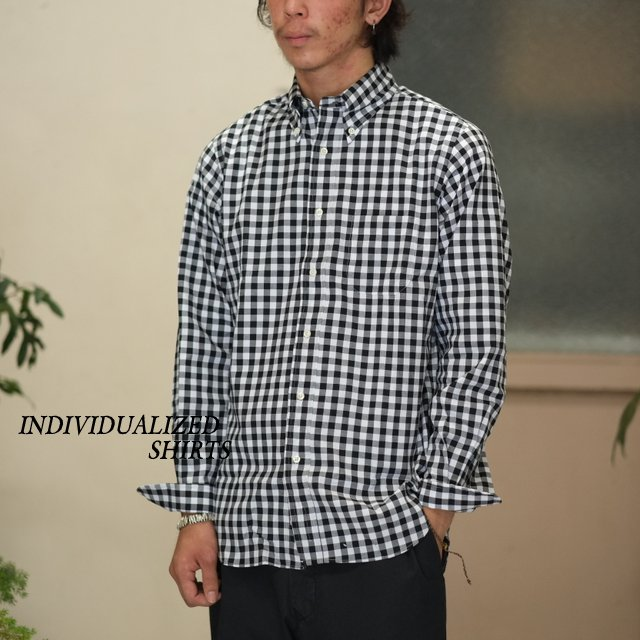 INDIVIDUALIZED SHIRTS(インディビジュアライズドシャツ)/Big Gingham Check B.D. Shirt (Standard Fit) -BLACK-