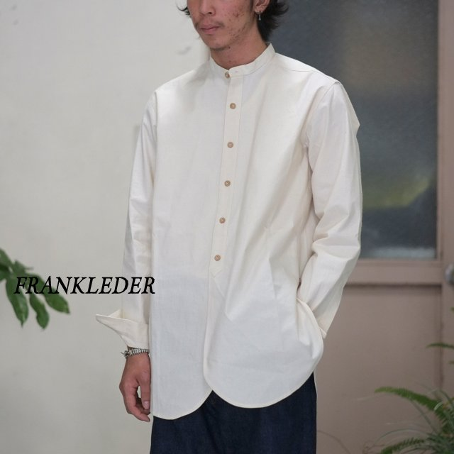 FRANK LEDER(フランクリーダー)/ VINTAGE BED LINEN COTTON NO COLLAR SHIRT OLD STYLE -(80)NATURAL WHITE-【S】