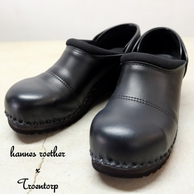 hannes roether(アーネスロエター) × Troentorp(トロエントープ) Swedish Clog Steel Toe Cap Leather x Canvas -BLACK-