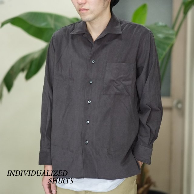 INDIVIDUALIZED SHIRTS(インディビジュアライズドシャツ)/ CAMP COLLAR CORDUROY SHIRT (AthleticFit) -Charcoal-