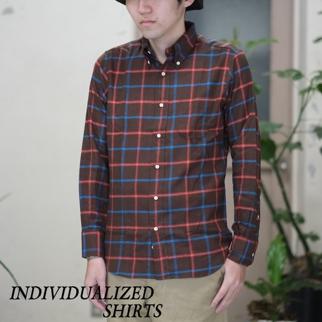 INDIVIDUALIZED SHIRTS(インディビジュアライズドシャツ)/ Flannel Check B.D. Shirt (Standard Fit) -BROWN CHECK-