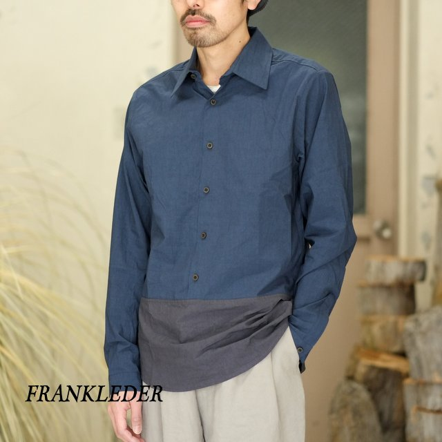FRANK LEDER(フランク リーダー) / TRIPLE WASHED THIN COTTON 2 COLOR SHIRT -BLUE/NAVY- #0216018