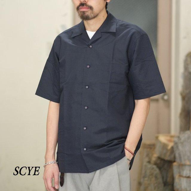 【18 SS】SCYE(サイ) / コットンリネン高密度キャンプカラーシャツ -(87)ダークネイビー- #1118-31061