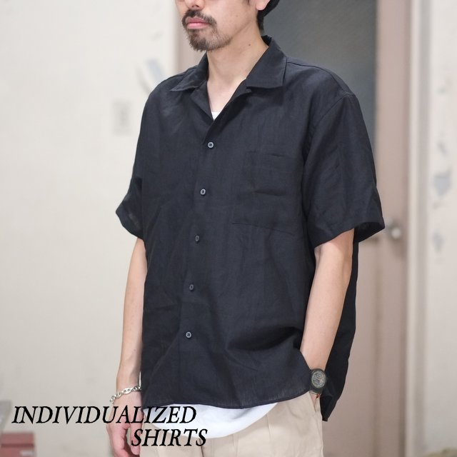 INDIVIDUALIZED SHIRTS(インディビジュアライズドシャツ)/ Linen Camp Collar Shirt S/S (AthleticFit) -BLACK- #IS1812110