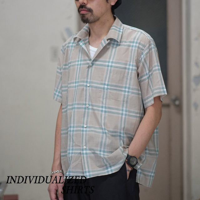 INDIVIDUALIZED SHIRTS(インディビジュアライズドシャツ)/ Check Camp Collar Shirt S/S (AthleticFit) -BEIGE GREEN CHECK- #IS1812116