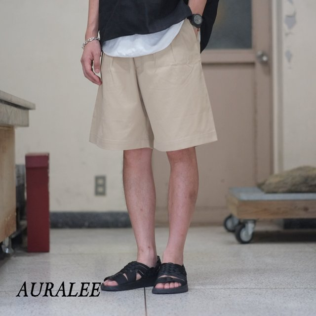 AURALEE(オーラリー)/ WASHED FINX LIGHT CHINO WIDE SHORTS -IVORY- #A8SP02CN