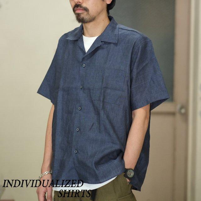 INDIVIDUALIZED SHIRTS(インディビジュアライズドシャツ)/ Linen Camp Collar Shirt S/S (AthleticFit) -INDIGO- #IS1812111