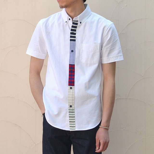 BAND OF OUTSIDERS(バンドオブアウトサイダーズ)/ S/S Button Down Shirt with Multi Contrast Placket -(10)white-