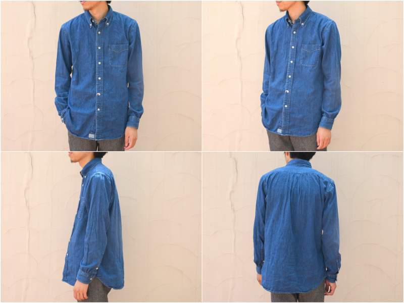 orSlow (Onslow) and BUTTON DOWN SHIRTS-(95) denim 2 year wash-