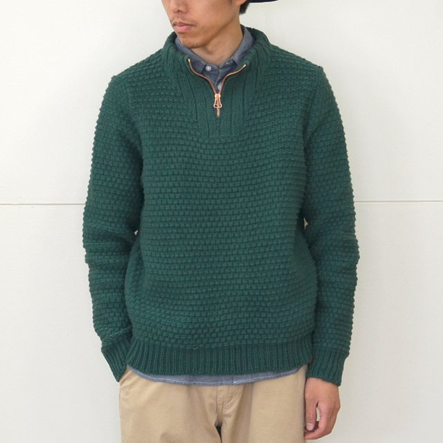 FRANK LEDER(フランクリーダー)/ TROYER HAND KNITTEED WOOL PULLOVER -(48)GREEN-