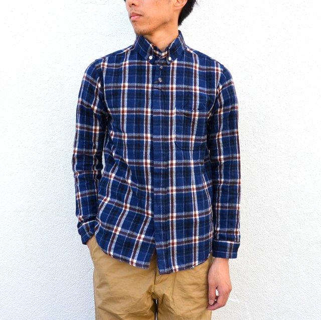 nisica(ニシカ)/コットンフランネルB.Dシャツ-NAVY×RED-
