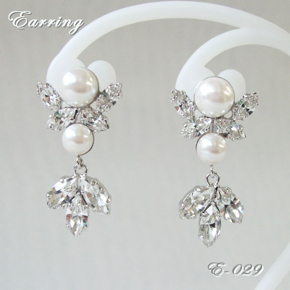 Accessaccessory Earrings E029 Wedding Four Circle Party Accessories Swarovski Element Use Craftsman Is Handmade Rakuten Global Market