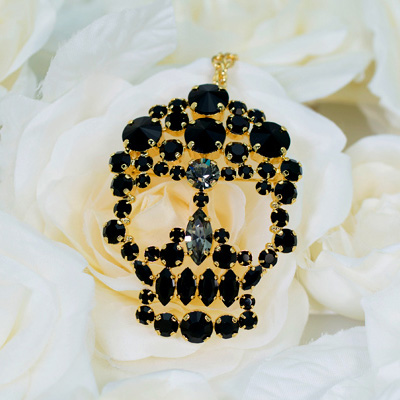 MASAAKi TAKAHASHi ペンダントブローチ Crystal Skull スワロフスキークリスタル gold black