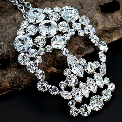 MASAAKi TAKAHASHi ペンダントブローチ Crystal Skull スワロフスキークリスタル silver crystal