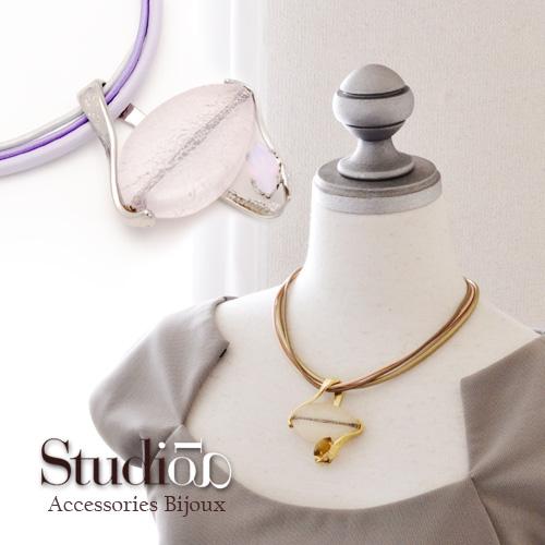 イタリア製StdioGi 天然石調 デザイン3連ネックペンダント ゴールド シルバー (ヨーロッパ/アクセサリー直輸入/レディース/インポート/コスチュームジュエリー)
