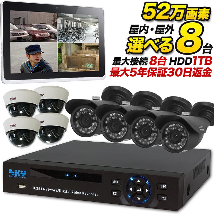 防犯カメラセット 防犯カメラ 監視カメラ 8台セット 屋外 屋内 送料無料 録画 1TBHDDレコーダー 事務所 録画 設置 おすすめ SET-A281A アナログ