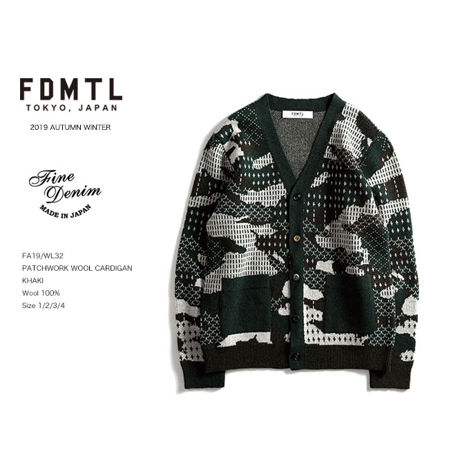 20%OFF SALE FDMTL PATCHWORK WOOL CARDIGAN ウールカーディガン 刺し子 fa19aw セール