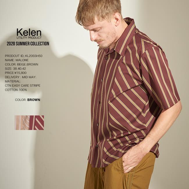 先行予約 KELEN ケレンSTRIPE SWITCH SHIRTS MALONE 半袖オープンカラーシャツ kl20sm 5月