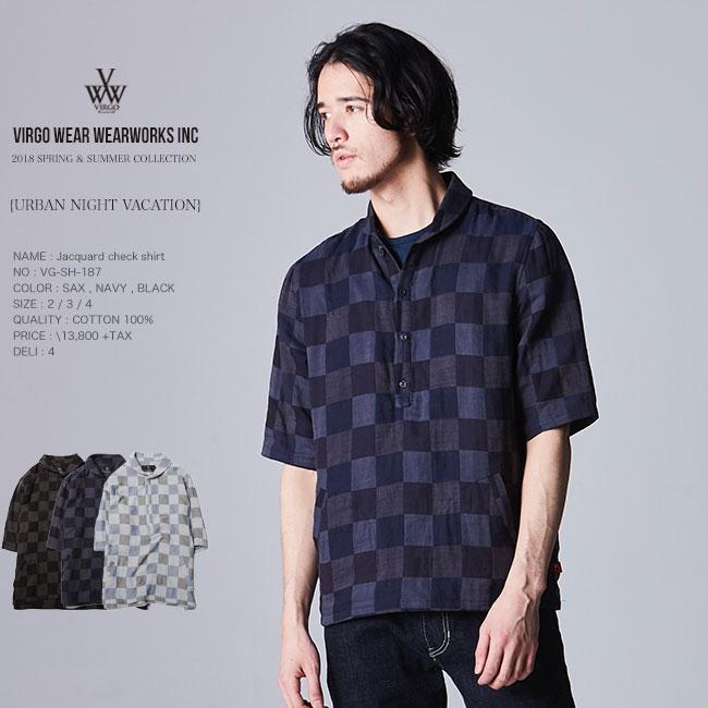 30%OFF SALE VIRGO ヴァルゴ Jacquard check shirt チェックシャツ 18ss セール