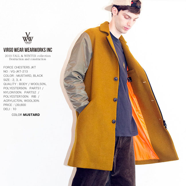 50%OFF SALE VIRGO ヴァルゴ チェスターコート FORCE CHESTERS JKT ジャケット 日本製 19aw セール