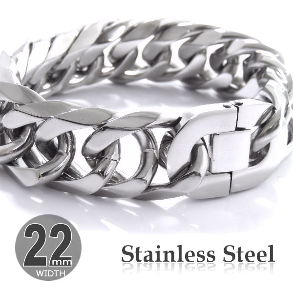 Mens Bracelet Stainless Steel W6 Side Double Six Sided Willing Flat Pre Bent Chain Men