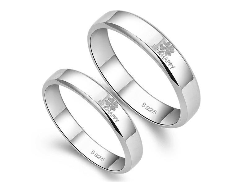 ペアリング 純銀 シルバー 925 指輪 四葉のクローバー BE HAPPY シンプル ラブリング送料無料