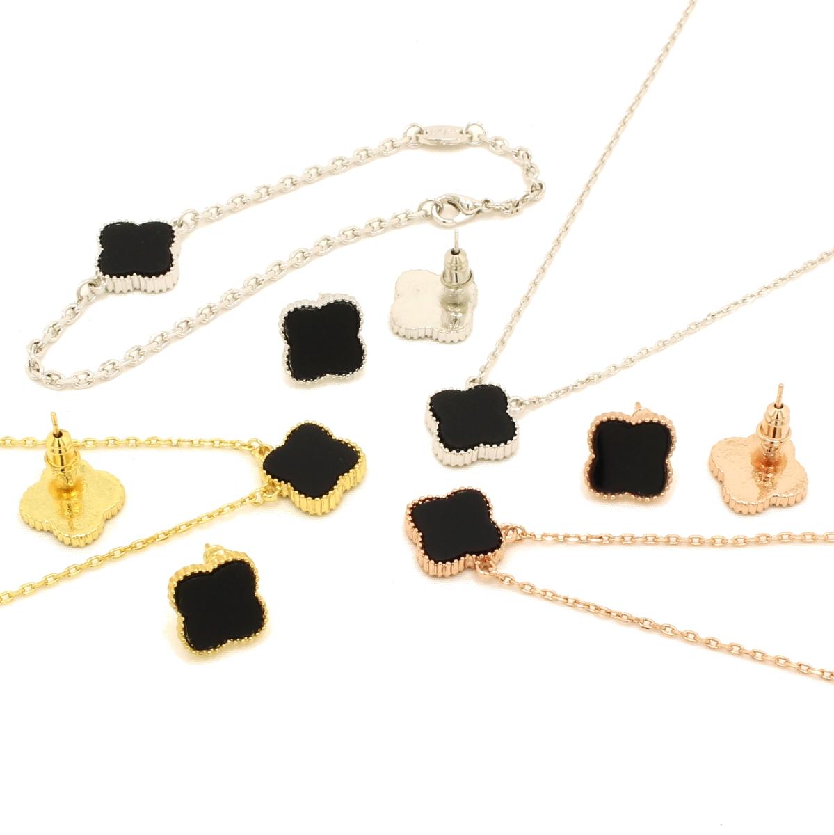 Hakuchobana Perlafiore Mil Gold Flower Necklace Pierced Earrings