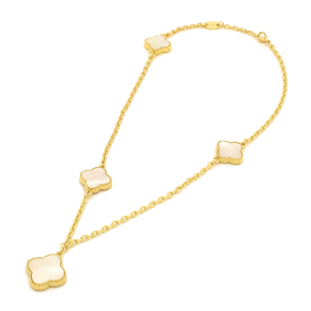 Accessorykanon rakuten global market mil gold flower accent mil gold flower accent flower necklace yellow lip pearl shell shell clover 3 flower 1 branch mightylinksfo