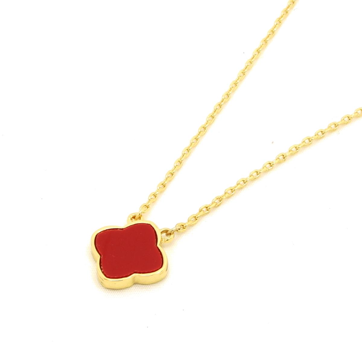 Hakuchobana Perlafiore Golden Flower Necklace Clover 1 Flower