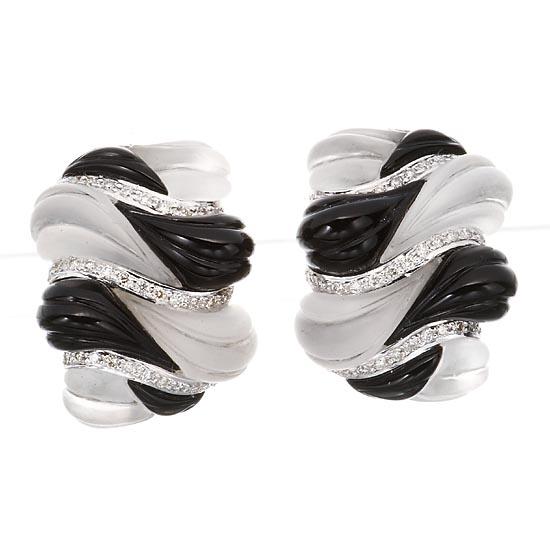 WG18ブラックカルセドニー&ロッククリスタルボリュームピアス イヤリング/送料無料