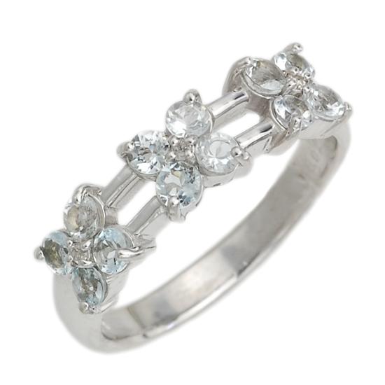 K18WG ダイヤモンド アクアマリン フラワーリング ホワイトゴールド 指輪/送料無料