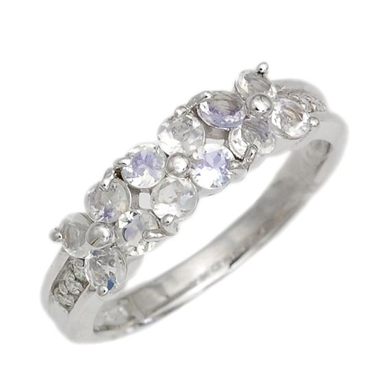K18WG ダイヤモンド ブルームーンストーン フラワーリング ホワイトゴールド 指輪/送料無料