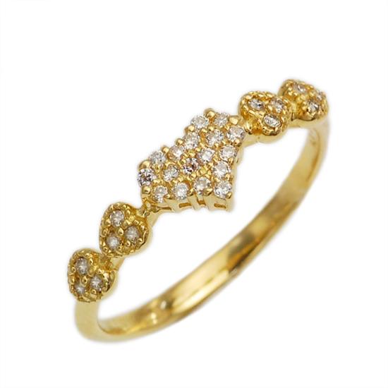 K18 ダイヤモンド 計0.14ct パヴェ ミル打ち ハート リング 指輪 /送料無料
