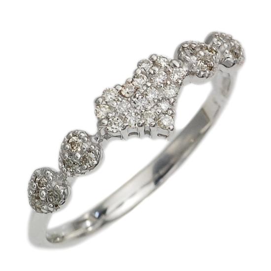 K18WG ダイヤモンド 計0.14ct パヴェ ミル打ち ハート リング 指輪 /送料無料