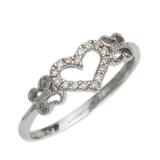 K10WG ダイヤモンド 計0.08ct オープンハート リング 指輪 /送料無料