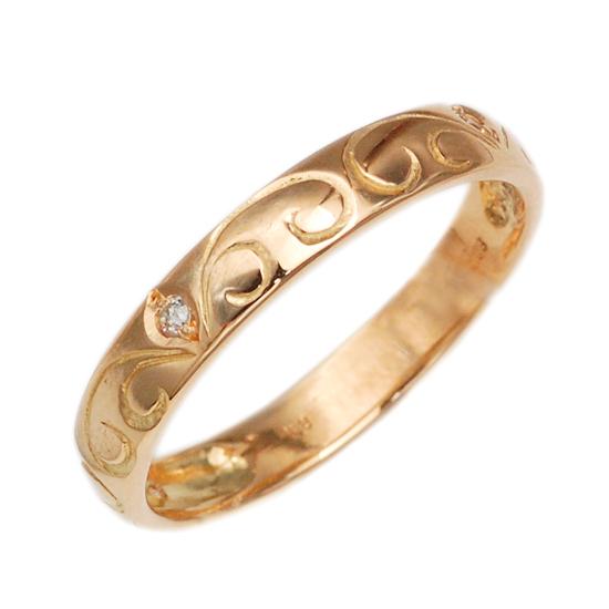 K18PG ダイヤモンド 計0.03ct 甲丸リング 指輪 /送料無料