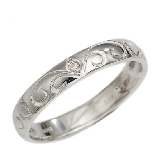 K18WG ダイヤモンド 計0.03ct 甲丸リング 指輪 /送料無料